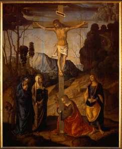 Crucifixion of Jesus of Nazareth, by Marco Palmezzano (Uffizi, Florence), ca. 1490