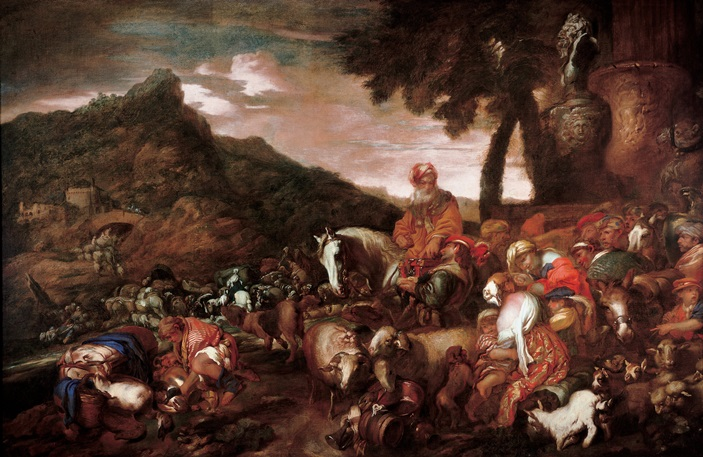 """Journey of the Family of Abraham"" by Giovanni Benedetto Castiglione, 1650–1660"
