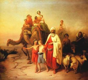 A painting of Abraham's departure by József Molnár, 1850