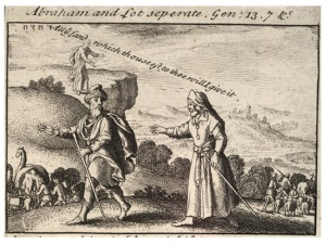 Depiction of the separation of Abraham and Lot by Wenceslaus Hollar.