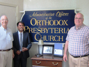 With Elder Mark Bube and Rev. Douglas B. Clawson of the OPC's Foreign Missions Committee