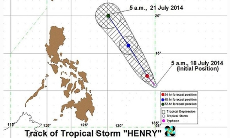 Track of Tropical Storm Matmo (Henry)