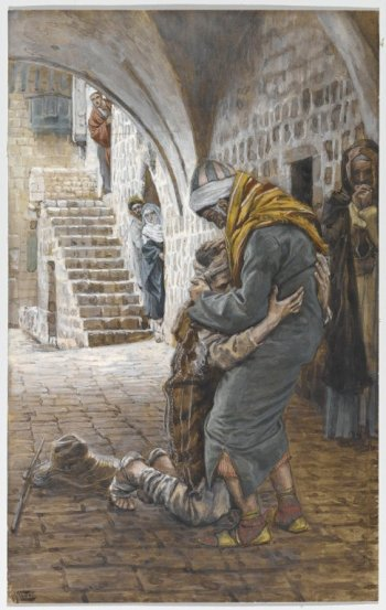 The Return of the Prodigal Son (Le retour de l'enfant prodigue) by James Tissot, between 1886 and 1894. Kept at Brooklyn Museum.