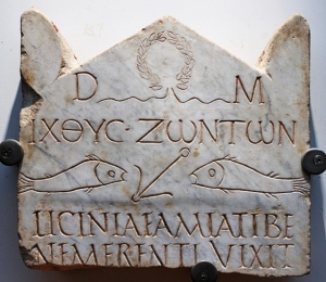 Funerary stele of Licinia Amias, one of the most ancient Christian inscriptions.
