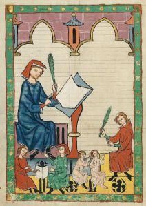 """Codex Manesse, fol. 292v, """"The Schoolmaster of Esslingen"""" (Der Schulmeister von Eßlingen)"""