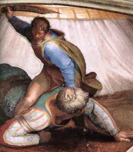 'David and Goliath' by Michelangelo, on the Sistine Chapel ceiling