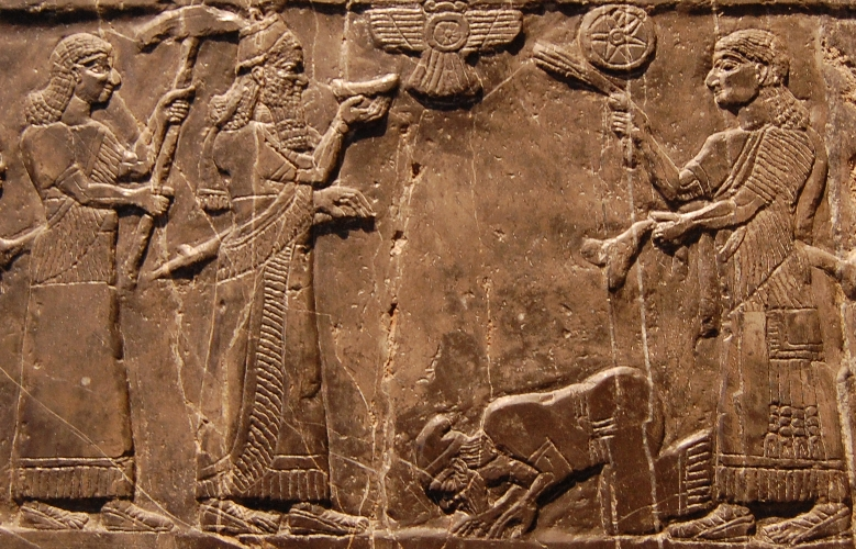"Possibly Jehu, described as ""son of Omri"", or Jehu's ambassador, kneeling at the feet of Shalmaneser III on the Black Obelisk"